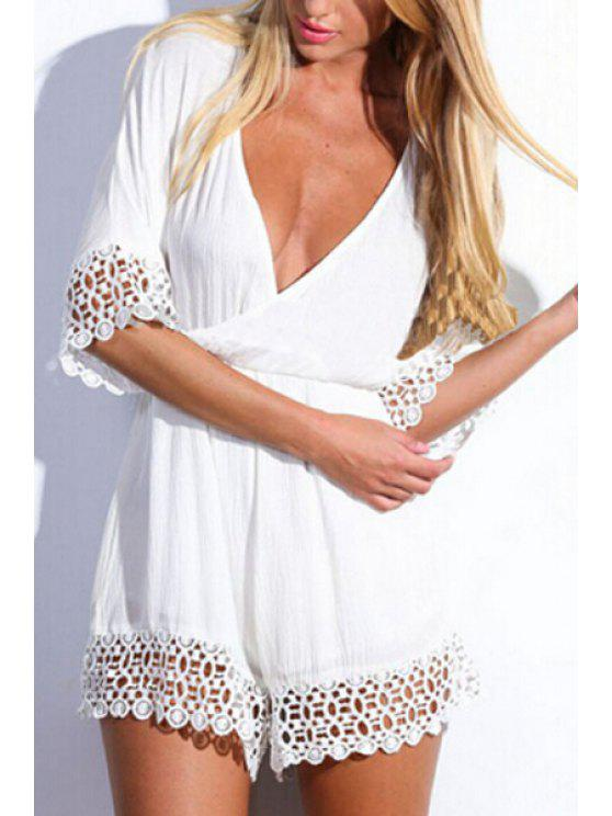 women White Plunging Neck Half Sleeve Playsuit - WHITE S