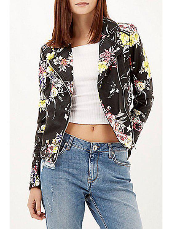 unique Floral Print PU Leather Jacket - BLACK S