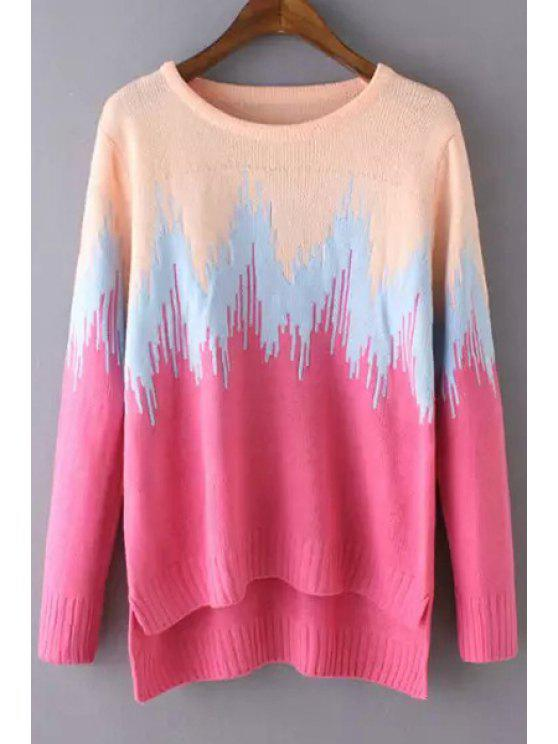 fashion Long Sleeves Color Block High Low Hem Pullover Sweater - PINK ONE SIZE(FIT SIZE XS TO M)
