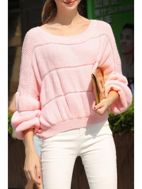 buy Long Lantern Sleeve Pink Sweater - PINK ONE SIZE(FIT SIZE XS TO M)