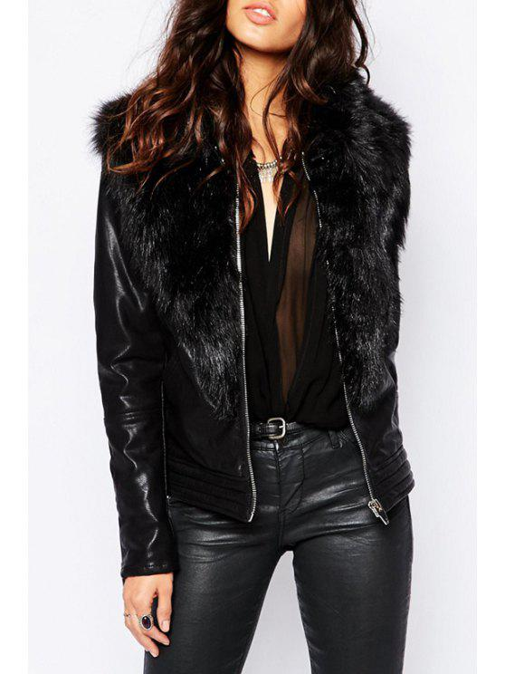 chic Large Faux Fur Collar PU Leather Jacket - BLACK S