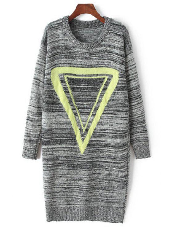 affordable Triangle Print Round Collar Long Sleeves Sweater Dress - GRAY ONE SIZE(FIT SIZE XS TO M)