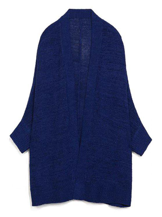 ladies Pure Color Stand Collar Long Sleeves Cardigan - SAPPHIRE BLUE L