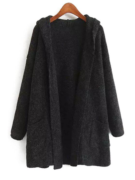 fancy Solid Color Long Sleeves Hooded Neck Cardigan - BLACK ONE SIZE(FIT SIZE XS TO M)