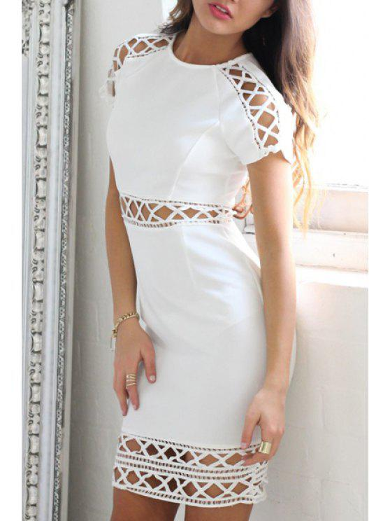 lady Short Sleeve Hollow Out Bodycon Dress - WHITE L