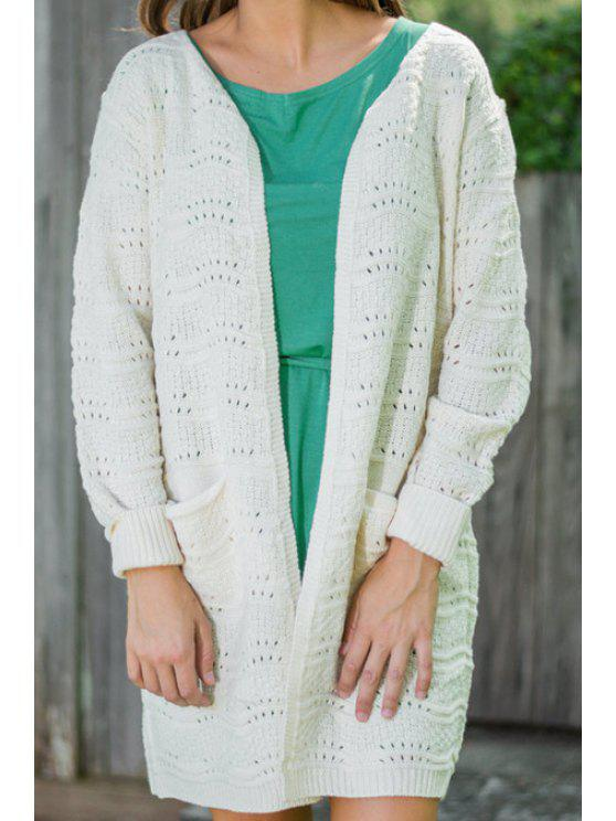 buy White Long Sleeve Long Cardigan - WHITE ONE SIZE(FIT SIZE XS TO M)