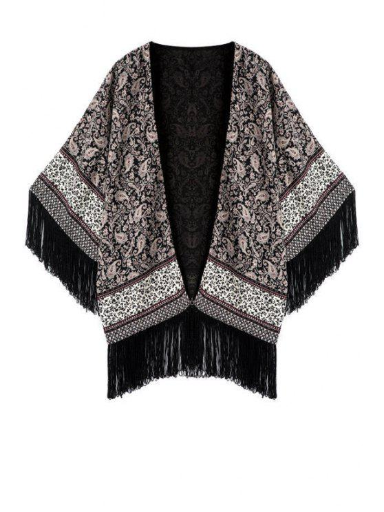 sale Printed Tassels Collarless Half Sleeves Kimono Coat - GRAY L