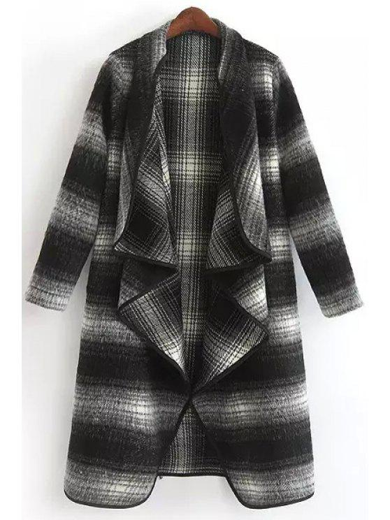 Striped Turn-Down Collar Long Sleeves Thicken Coat - Blanco y Negro M