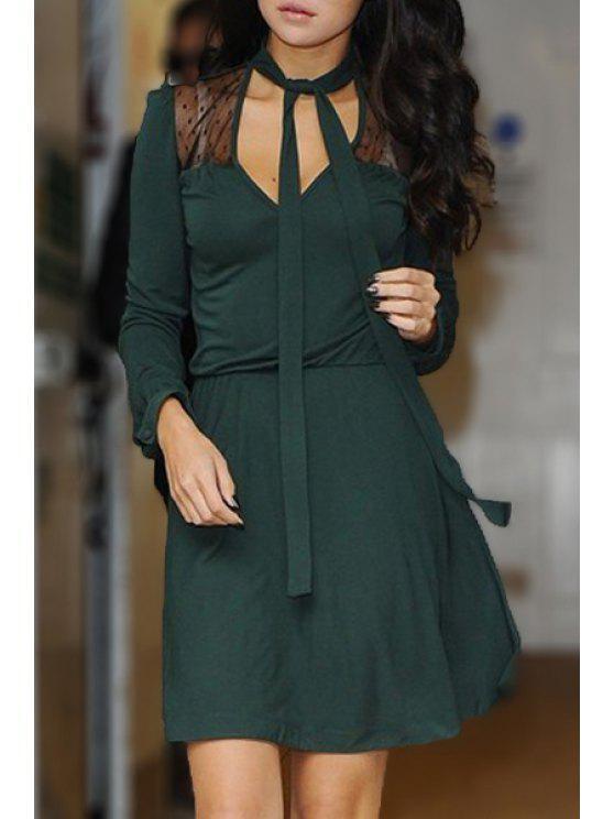 women V-Neck Voile Spliced Green Dress - GREEN S