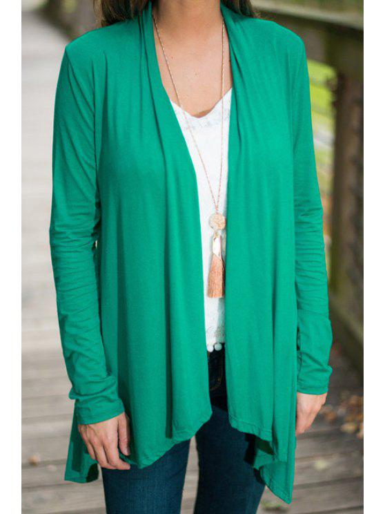 sale Green Collarless Long Sleeve Coat - GREEN S