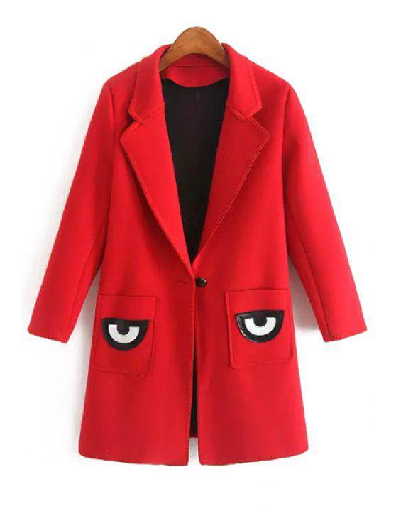 women Pocket Eye Print Lapel Collar Long Sleeves Coat - RED L