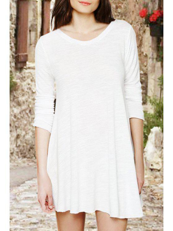 hot White Backless Long Sleeve Dress - WHITE S