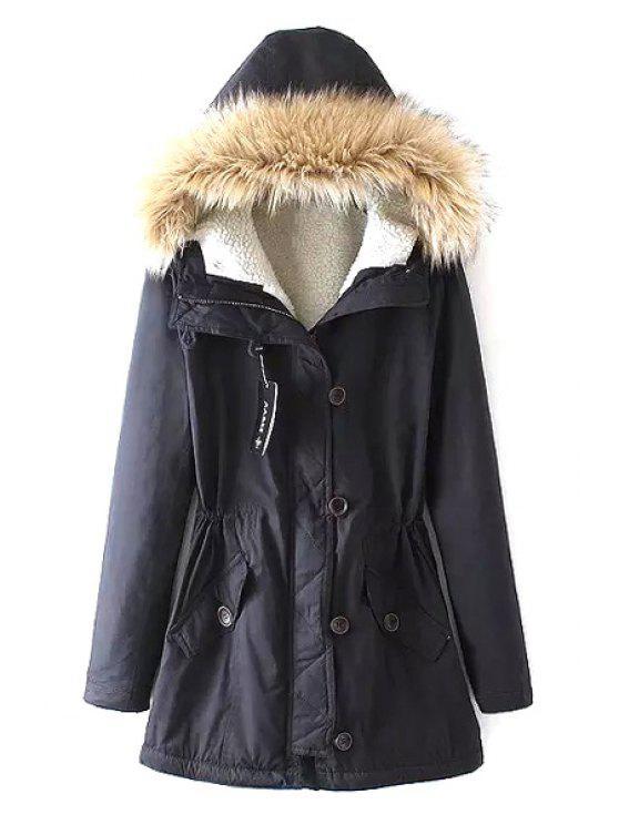 fancy Fleece Lining Military Parka Coat - CADETBLUE S