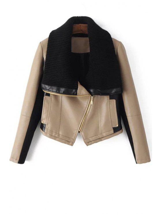 trendy Sweater Turn-Down Collar Spliced PU Leather Jacket - OFF-WHITE S