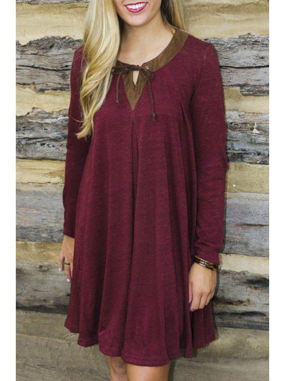shops Long Sleeve Wine Red Dress - WINE RED S