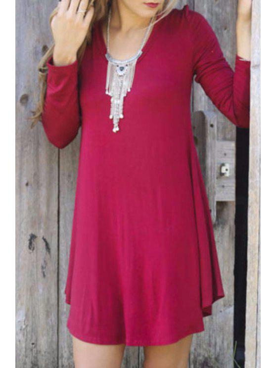 chic Wine Red Scoop Neck Long Sleeve Dress - WINE RED S