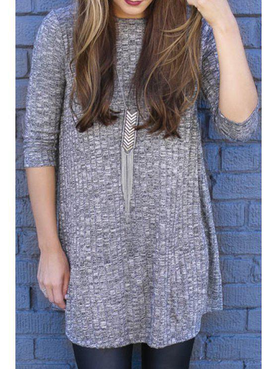 sale Gray Round Neck Long Sleeve Knitwear - GRAY L