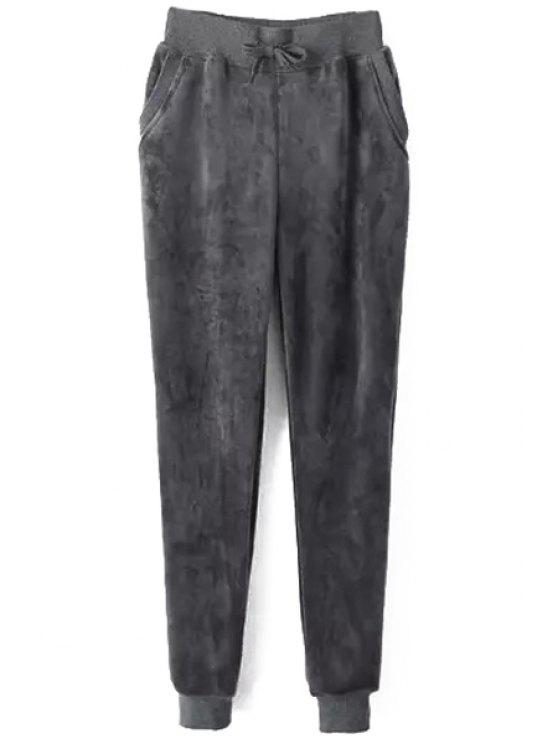 shop Elastic Waisted Thicken Fluff Women's Pants - GRAY S