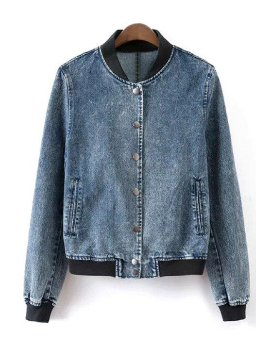 ladies Stand Neck Single-Breasted Denim Jacket - BLUE M