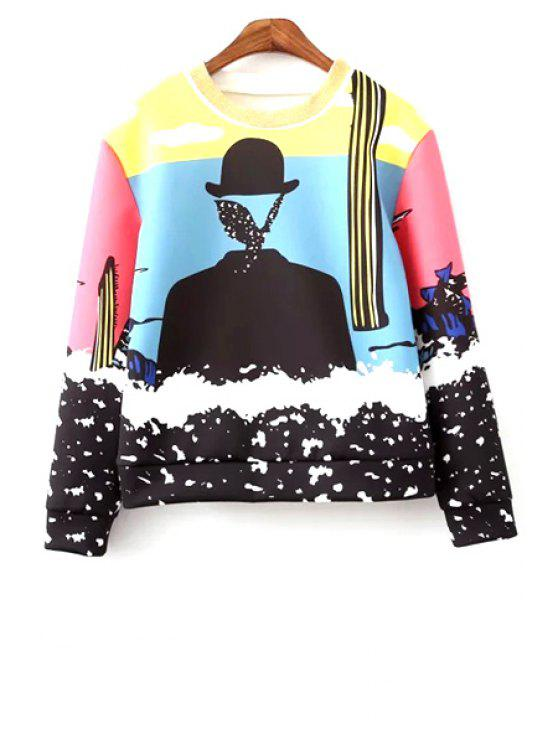 affordable Round Neck Colorful Sweatshirt - COLORMIX S