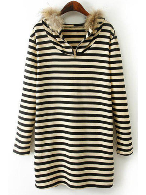 women's Striped Long Sleeves Hooded Faux Fur Collar Dress - WHITE AND BLACK S
