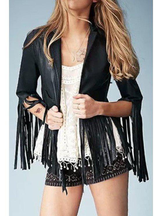 womens Long Tassel Faux Leather Jacket - BLACK L