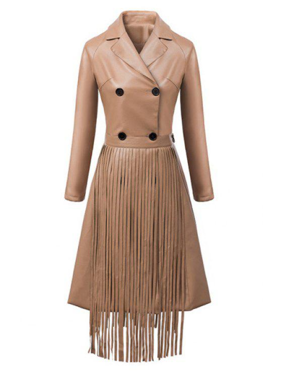 outfit Double-Breasted Fringed Faux Leather Coat - BROWN S