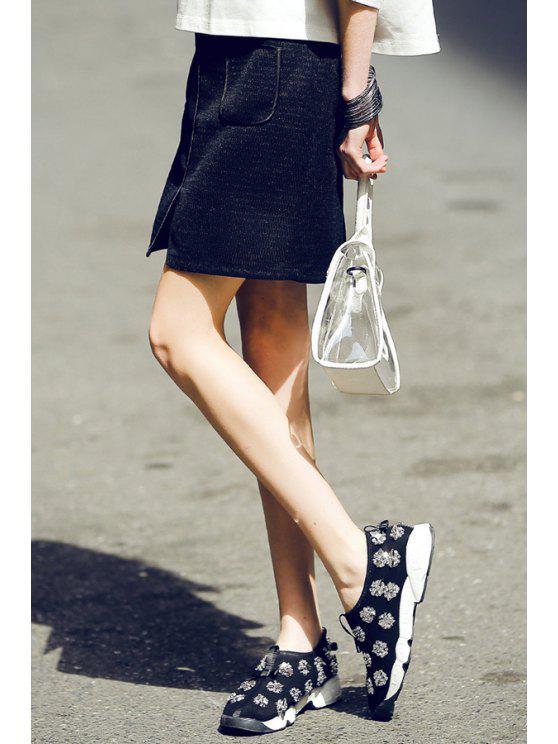 womens Pocket Design Front Slit Mini Skirt - BLACK S