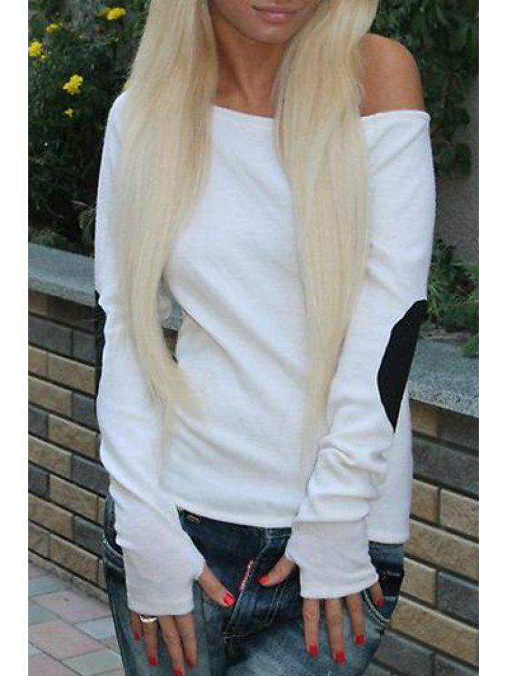 women Applique Patch Sloping Neck Long Sleeves T-Shirt - MILK WHITE XL