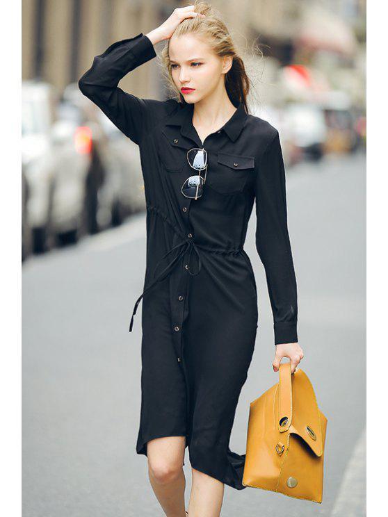 sale Single-Breasted Drawstring Chiffon Blouse - BLACK S