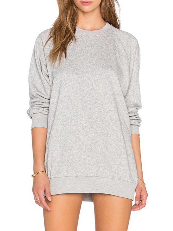 shop Gray Round Collar Long Sleeves Pullover Sweatshirt - GRAY S