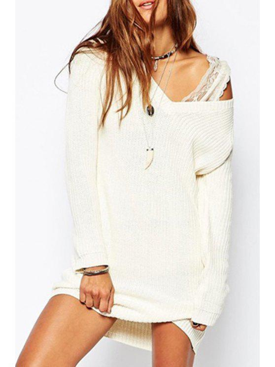 lady Off-White V-Neck Long Sleeves Pullover Sweater - OFF-WHITE ONE SIZE(FIT SIZE XS TO M)