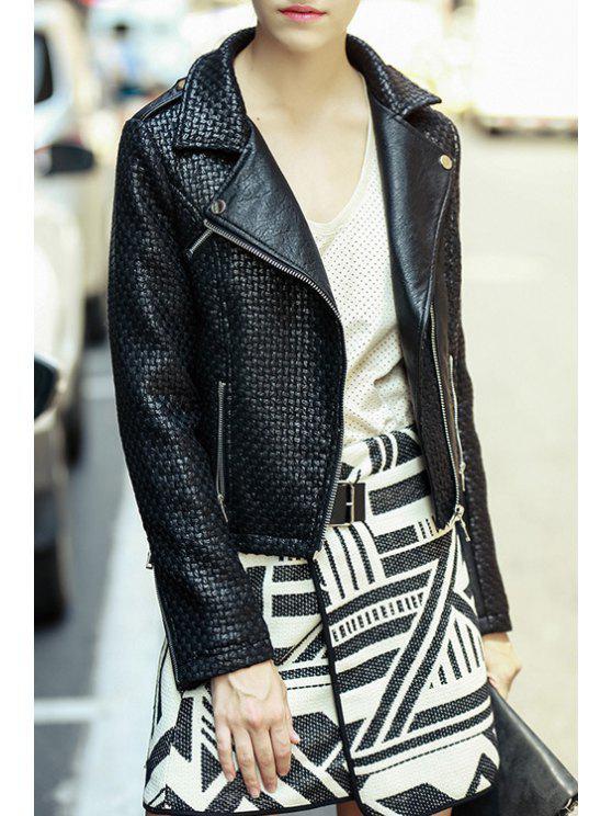 shop Zip Pockets PU Leather Crop Jacket - BLACK L