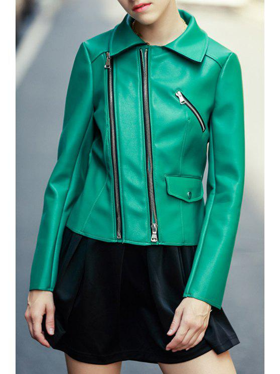 latest Zippered Faux Leather Green Jacket - GREEN S