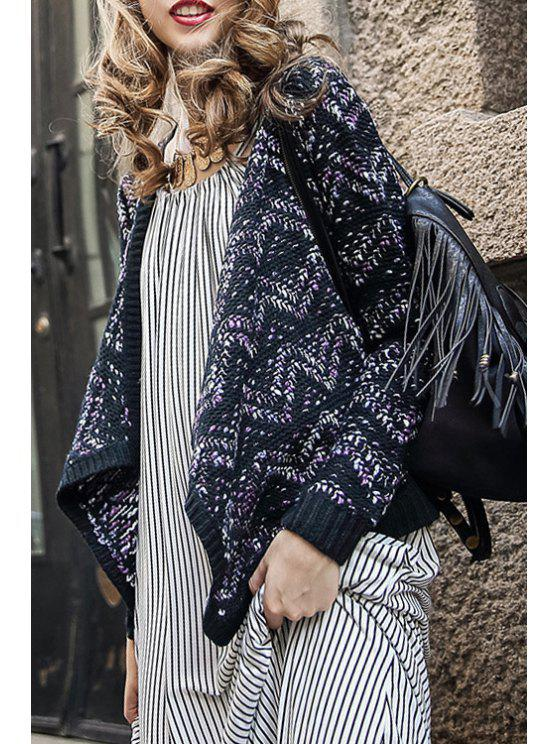 trendy Striped Jacquard Cardigan - PURPLE S