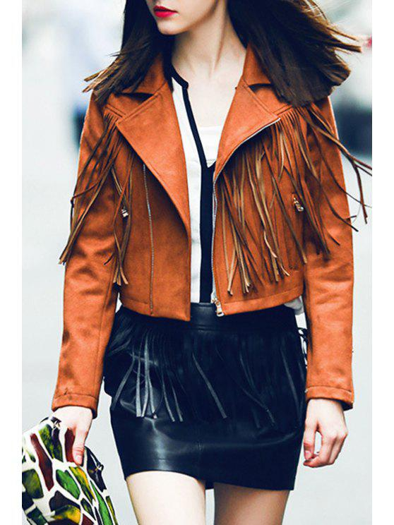 buy Lapel Fringed Suede Jacket - BROWN S