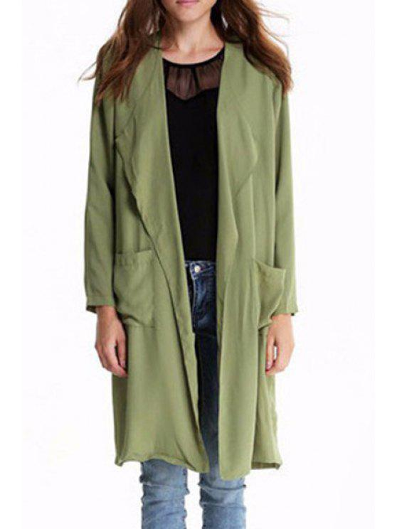 sale Solid Color Turn-Down Collar Long Sleeves Trench Coat - ARMY GREEN S