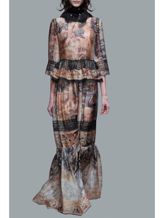 fancy Crane Print 3/4 Sleeve Round Neck Maxi Dress - COLORMIX M