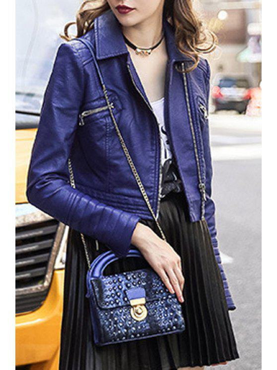 trendy Zippered Faux Leather Cropped Jacket - SAPPHIRE BLUE M
