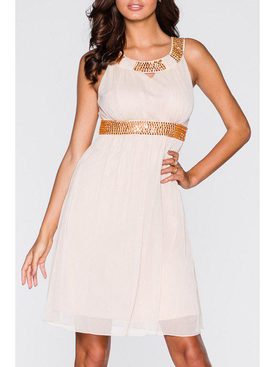 shops Solid Color Round Collar Sleeveless Waisted Sequins Dress - PINK S