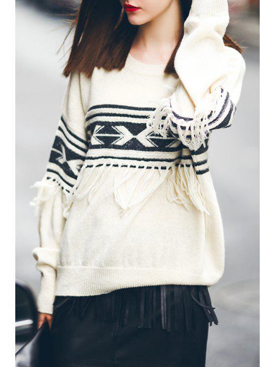 women Jacquard Fringed Sweater - OFF-WHITE S