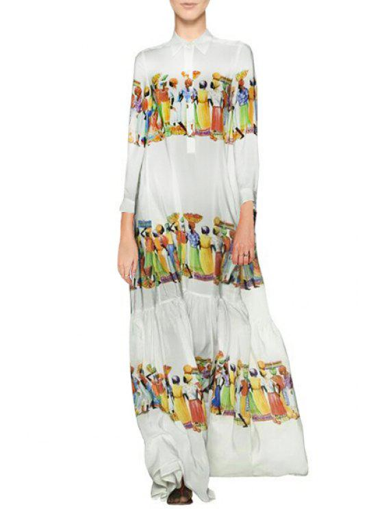 women Figure Print Turn Down Collar Maxi Dress - AS THE PICTURE S