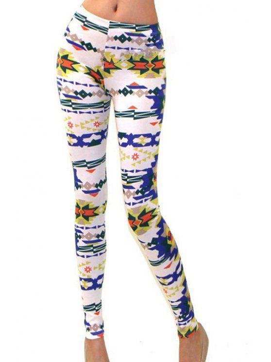 online Geometric Print High Waisted Skinny Leggings - COLORFUL S