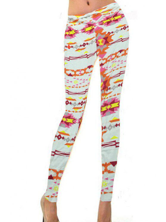 hot Skinny Geometric Pattern Leggings - COLORFUL S