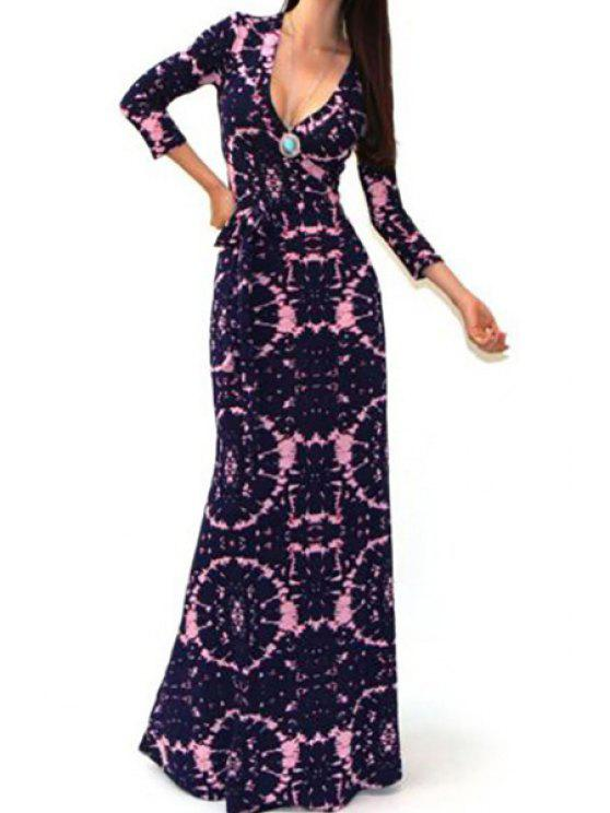 sale Print Plunging Neck Long Sleeve Maxi Dress - BLACK AND PINK S