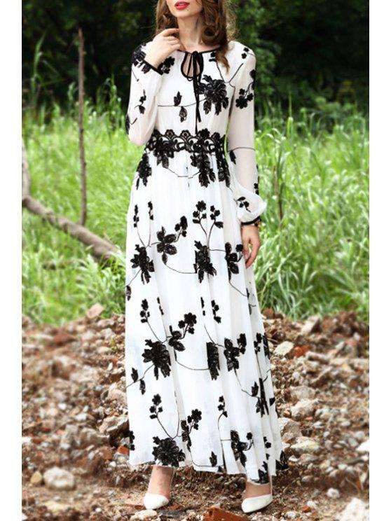 women Floral Embroidered Long Sleeve Maxi Dress - WHITE S