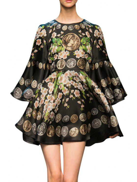 fancy Bell Sleeve Floral Print Prom Dress - BLACK L