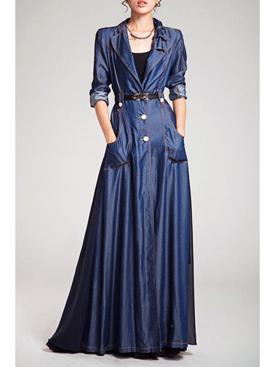 women Denim Spliced Long Sleeve Maxi Trench Coat - BLUE S