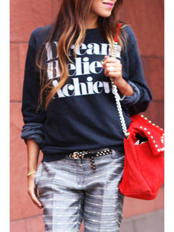 online Round Collar Letters Print Long Sleeve Sweatshirt - CADETBLUE S
