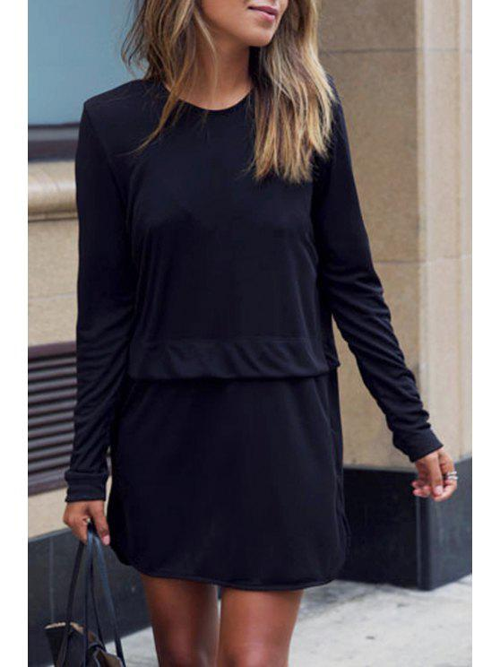 affordable Black Round Neck Long Sleeve Dress - BLACK S